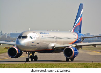 This is a view of Aeroflot plane Airbus A320 registered as VP-BZR on the Warsaw Chopin Airpot. April 1, 2017. Warsaw, Poland.