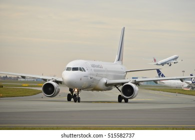 This is a view of Air France plane Airbus A320-214 registered as F-GKXV on the Warsaw Chopin Airport. November 4, 2016. Warsaw, Poland.