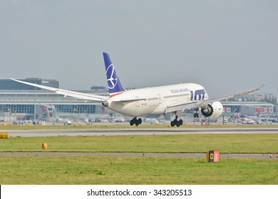 This is a view of Boeing 787-8 Dreamliner on the Warsaw Chopin Airport. September 16, 2015. Warsaw, Poland.