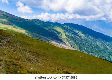 This is the view from Chanderkhani summit. Chanderkhani is a mountain pass in the Himalayan ranges in Himachal Pradesh state of India. It lies at an altitude of 12,010 ft from the sea level.