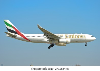 This is a view of Emirates plane Airbus A330-200 registered as A6-EAD on the Warsaw Chopin Airport. April 11, 2015. Warsaw, Poland.