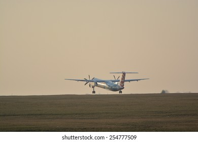 This is a view of Eurolot plane Bombardier Q400 registered as SP-EQE landing on the Lublin Airport. February 20, 2015. Lublin Airport in Swidnik, Poland