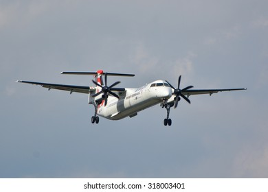 This is a view of the Eurolot plane Bombardier Q400 dash 8 registered as SP-EQB on the Warsaw Chopin Airport. September 16, 2015. Warsaw, Poland.