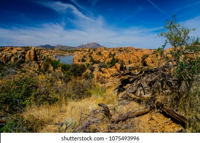 This is a view of Granite Mountain from the Easter Island Trail in the Granite Dells of Prescott, Arizona.