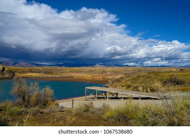 This is a view of Highline Lake, as a storm threatened the area. It is located in Highline State Park in Loma, Colorado.