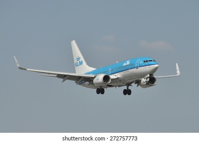 This is a view of KLM plane Boeing 737-700 registered as PH-BGN on the Warsaw Chopin Airport. April 11, 2015. Warsaw, Poland.
