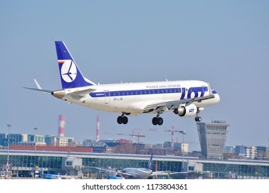 This is a view of LOT-Polish Airlines plane Embraer ERJ 170 registered as SP-LIM on the Warsaw Chopin Airport. April 1, 2017. Warsaw, Poland.