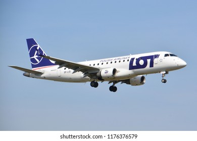This is a view of LOT-Polish Airlines plane Embraer ERJ 170 registered as SP-LID on the Warsaw Chopin Airport. April 1, 2017. Warsaw, Poland.