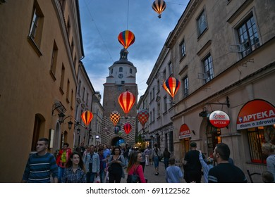This is a view of Mountebanks Carnaval in Lublin old town. July 28, 2017. Lublin, Poland.