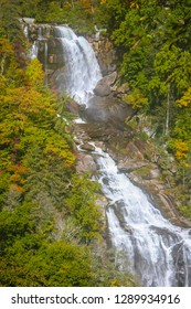 This is a view of part of 411 ft. Whitewater Falls on Autumn. It is located in the Nantahala National Forest, Transylvania County, off the Blue Ridge Parkway in North Carolina.