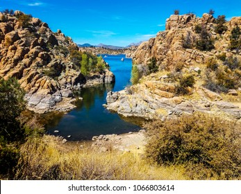 This is a view from the Peavine Trail, of one of the most scenic inlets on Watson Lake in the Granite Dells of Prescott, Arizona.