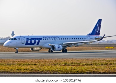 This is a view of LOT plane Embraer ERJ 170 registered as SP-LNI on the Warsaw Chopin Airport. February 28, 2019. Warsaw, Poland.