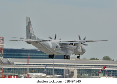 This is a view of Polish Air Force plane Cassa C-295 registered as 020 on the Warsaw Chopin Airport. September 16, 2015. Warsaw, Poland.