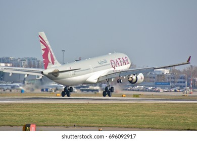 This is a view of Qatar Airways plane Airbus A330-200 registered as A7-ACL on the Warsaw Chopin Airport. April 1, 2017. Warsaw, Poland.