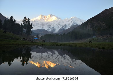 This is the view of  reflection of Nanga parbat mountain on small pond  with  low light  before sunrise at Fairy meadows , Gilgit-Baltistan , northern of Pakistan