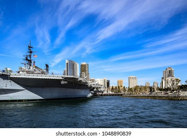 This view of the San Diego skyline and the USS Midway Museum is seen from the Coronado Ferry.