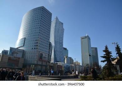 This is a view of skyscrapers in Warsaw - capital city of Poland. March 16, 2016. Warsaw, Poland.