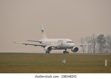 This is a view of Ukrainian Government plane Airbus A319 UR-ABA with ukrainian president Petro Poroshenko on board. December 18, 2014. Lublin Airport in Swidnik, Poland