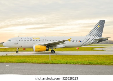 This is a view of Vueling plane Aribus A320 registered as EC-LRA on the Warsaw Chopin Airport. November 4, 2016. Warsaw, Poland.