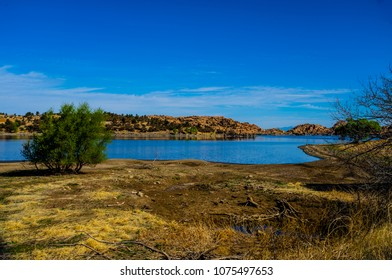 This is a view of Watson Lake from the Peavine Trail in the Granite Dells of Prescott, AZ, on a beautiful hiking day.
