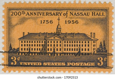 This is Vintage 1956 canceled US stamp Nassau Hall