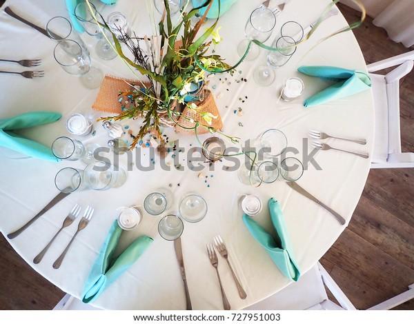 This Wedding Reception Table Setting Beach Stock Photo Edit