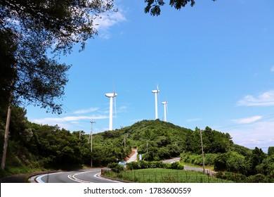 This is a wind turbine generator at Cape Sada Misaki, Ikata Town, Ehime Prefecture.