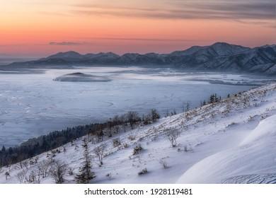 This is the winter daybreak scenry at Bihoro mountain pass in Hokkaido prefecture, Japan.