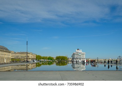 This is the world's largest reflecting pool Miroir des Quais in the French city Bordeaux.