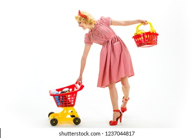 This is for you. Open. happy retro woman go shopping. Going for shopping. shopping marketing and commercial business concept. concumerism. vintage woman is real shopaholic. retro girl with full cart