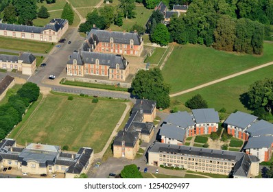 Thiverval Grignon, France - july 7 2017 : aerial photography of the classical castle