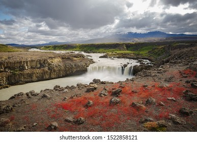 Thjofafoss Waterfall with Hekla Volcano on Top, a Hidden Gem in Iceland