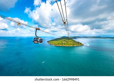 An Thoi, Phu Quoc, Vietnam - Jan 29th 2019: Sun World Hon Thom Nature Park, Reached by Sea-Crossing Cable Car from Phu Quoc Island, Vietnam, Southeast Asia. Aerial View.