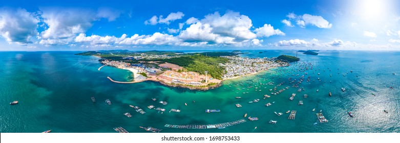An Thoi, Phu Quoc, Vietnam - Jan 29th 2019: An Thoi Station of the Sea-Crossing Cable Car, Connecting Phu Quoc Island and Sun World Hon Thom Nature Park,Vietnam, Southeast Asia. Panoramic Aerial View.