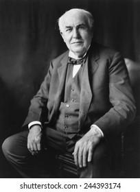 Thomas A. Edison (1847-1931), in Washington, D.C. in 1922 portrait by Bachrach.