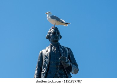 Thomas Cook Memorial at Whitby with seagull on top
