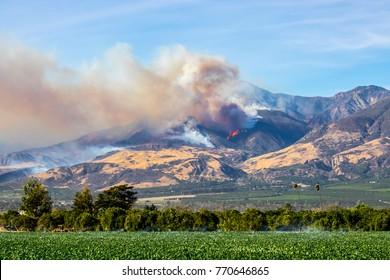 Thomas Fire Above City of Fillmore in Ventura County California