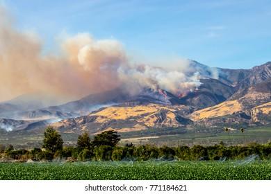 Thomas Fire Above Fillmore Ventura County Mountains