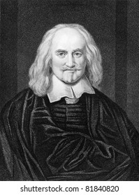 Thomas Hobbes (1588-1679). Engraved by J.Pofselwhite and published in The Gallery Of Portraits With Memoirs encyclopedia, United Kingdom, 1837.