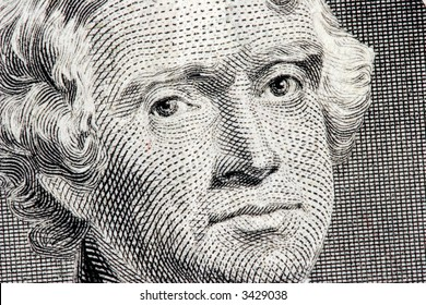 Thomas Jefferson close up from two dollar bill