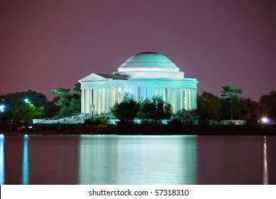 Thomas Jefferson Memorial illuminated with light closeup. Washington DC.