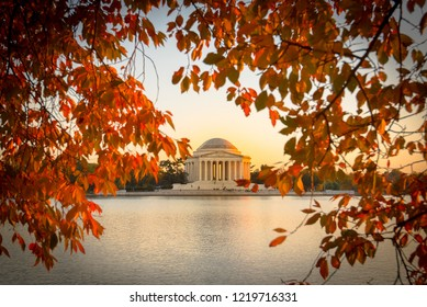 Thomas Jefferson memorial from Tidal basin, Washington D.C. in Fall during sunset