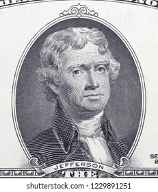 Thomas Jefferson  portrait on dollar bill  closeup