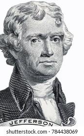 Thomas Jefferson portrait on a white background