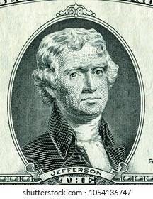 Thomas Jefferson portrait from two dollars banknote. US paper currency