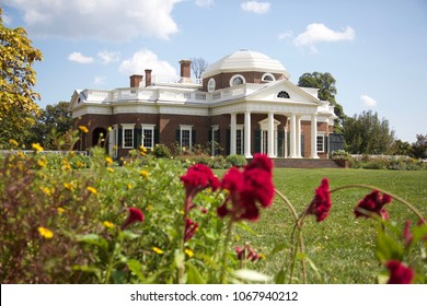 Thomas Jefferson's Monticello with red flowers