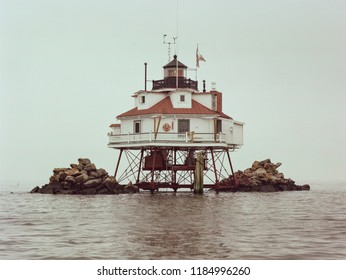 Thomas Point Shoal Lighthouse - last remaining screwpile lighthouse on the Chesapeake Bay - located in Annapolis Maryland