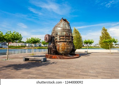 Thomas steel converter monument at Phoenix See lake in Horde district of Dortmund in Germany