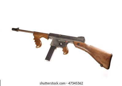 A Thompson Machine gun the favorite weapon of the gangsters in the  1920's -1930's isolated over white