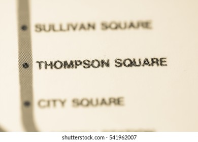Thompson Square Station. Boston Metro map.